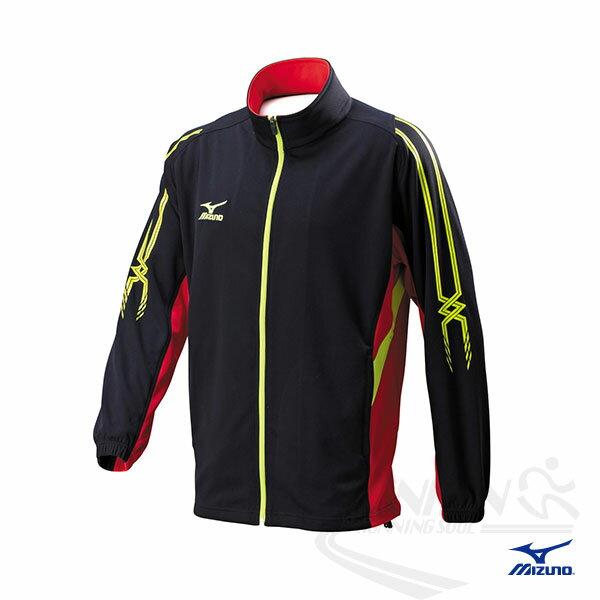 MIZUNO 美津濃 男針織運動外套 運動套裝上(黑*紅*蘋果綠)。