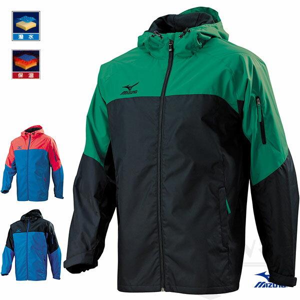 MIZUNO美津濃 防潑水保溫連帽半長風衣(黑*深綠)。