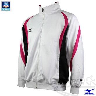 MIZUNO美津濃 針織運動外套(白/XL.2XL.3XL) 吸濕排汗 立領外套
