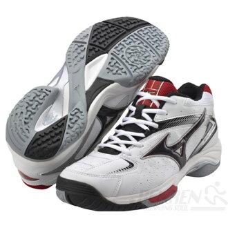 MIZUNO美津濃 Wave Sensation OC高避震寬楦網球鞋(白/黑) 男女同款 軍公教學生鞋 活動特賣