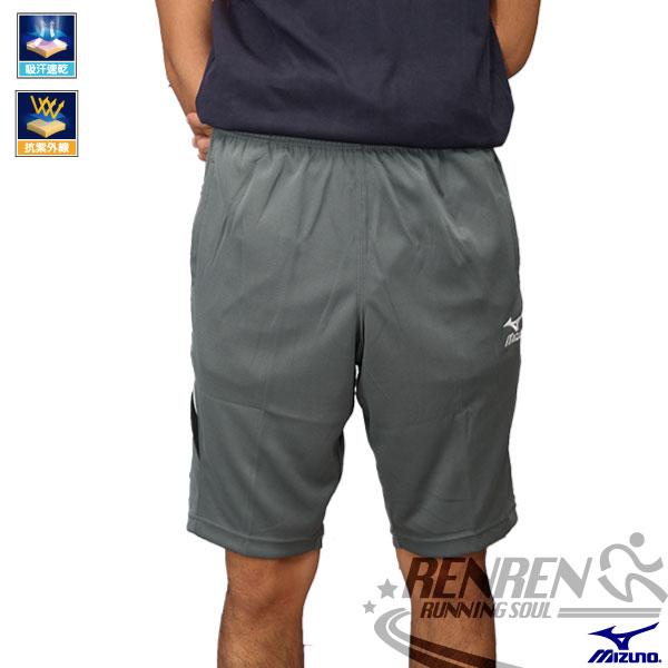 MIZUNO 美津濃 針織運動短褲(灰*黑白邊) 運動五分褲 吸汗速乾 抗UV