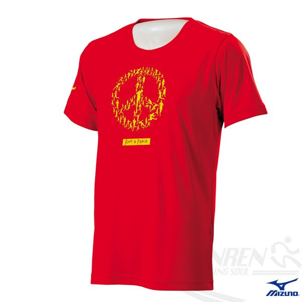 MIZUNO美津濃 短袖路跑T恤(火箭紅) WORLD PEACE印花圖案 吸汗速乾