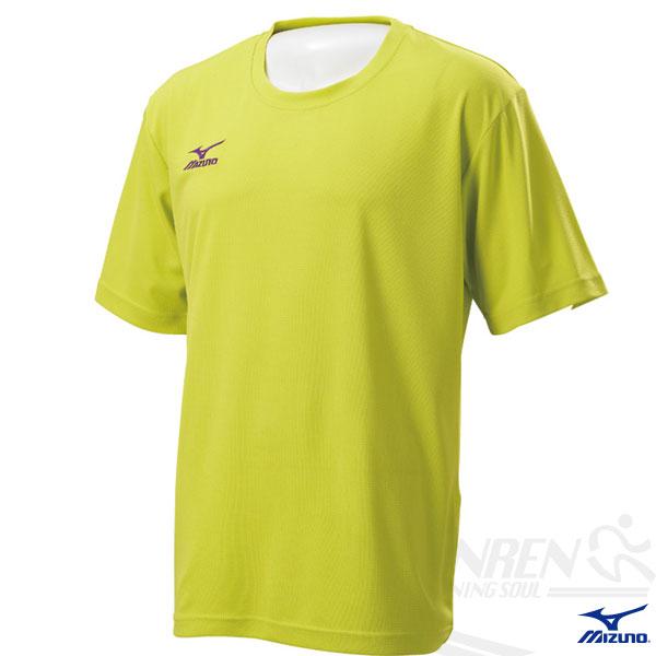 MIZUNO美津濃 短袖路跑T恤(蘋果綠)。
