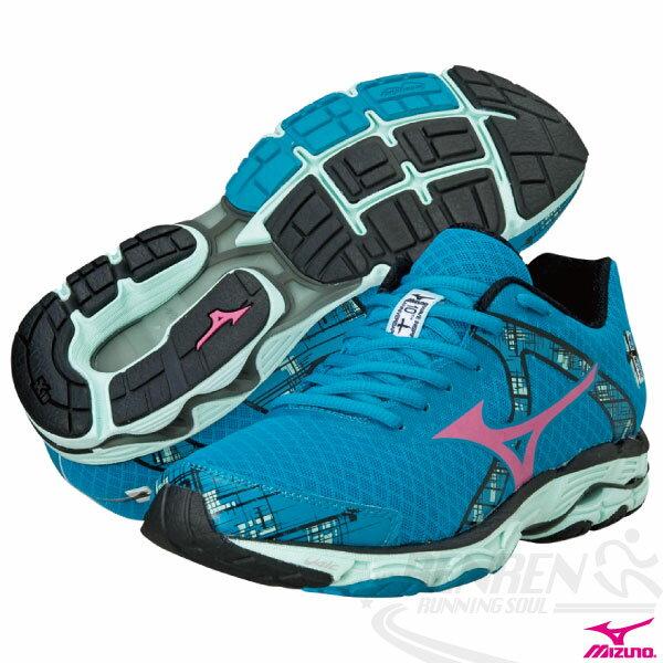 MIZUNO 美津濃 Wave Inspire 10 女慢跑鞋(藍) 中低足弓支撐