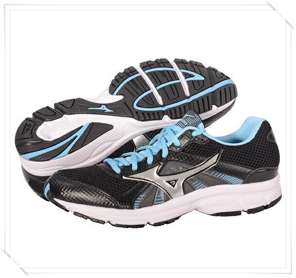 MIZUNO美津濃 女入門慢跑鞋 CRUSADER 8 (黑*藍) 一般型鞋款 快走慢跑適用