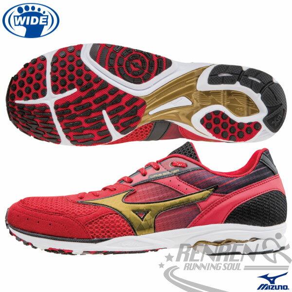 MIZUNO美津濃 男寬楦路跑鞋WAVE SPACER DYNA 2(紅*黑*金) 高抓地力,接地時間短,追求速度感