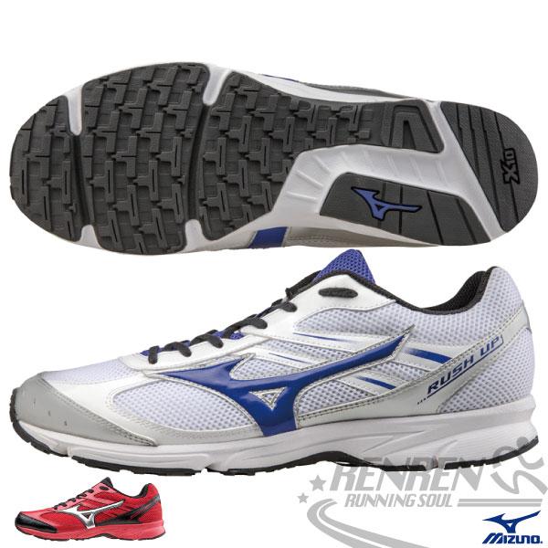 MIZUNO美津濃 馬拉松入門款RUSH UP 路跑鞋(白*藍) 輕量慢跑鞋 男女通用情侶鞋 學生運動鞋