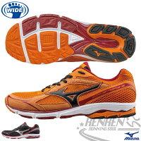慢跑_路跑周邊商品推薦到MIZUNO 美津濃 男Wave Aero 13寬楦慢跑鞋 路跑訓練鞋(橘)2015年輕量升級新品