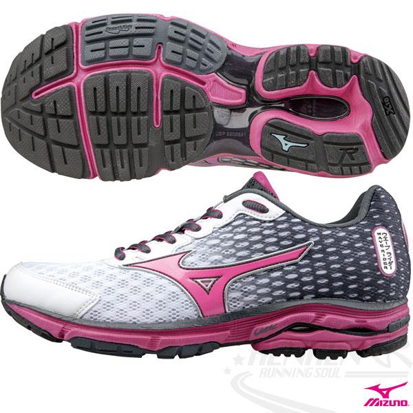 MIZUNO 美津濃 WAVE RIDER 18 女慢跑鞋2015年發燒貨(黑*白*粉)。