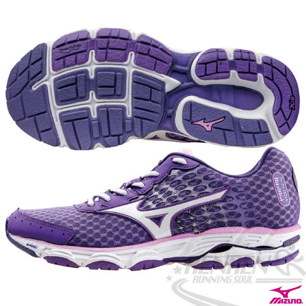 MIZUNO 美津濃 WAVE INSPIRE 11 女寬楦支撐型慢跑鞋(紫*白)2015年新貨到 中低足弓