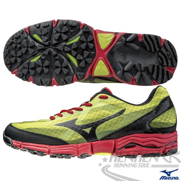 MIZUNO美津濃男越野慢跑鞋WAVEMUJIN(黃*黑)高抓地力支撐型
