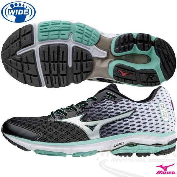 MIZUNO 美津濃 WAVE RIDER 18 女寬楦慢跑鞋(黑*銀) 緩衝性佳