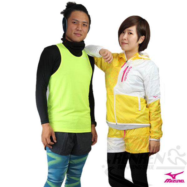 MIZUNO美津濃女休閒平織運動套裝外套運動套裝上(黃*白)。