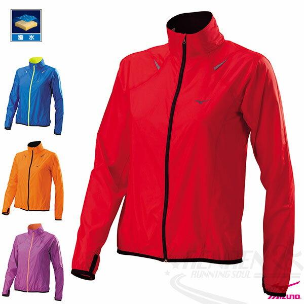 MIZUNO美津濃女路跑風衣(紅)超輕量防風防潑水運動外套