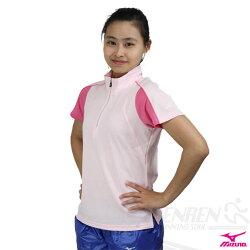 *2件85折*MIZUNO美津濃 女柔感美型短袖立領T恤 (粉紅) 吸汗速乾。56HL-15864