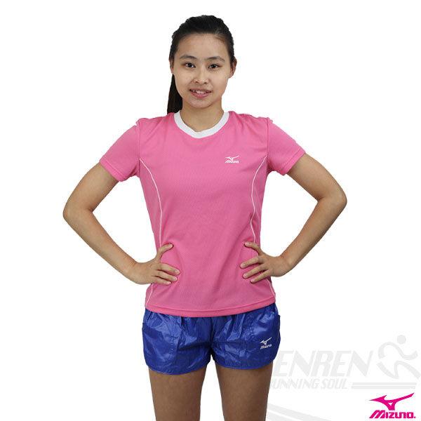*2件85折*MIZUNO美津濃 柔感排汗女短袖T恤(粉紅.S號) 抗UV吸汗速乾。56TL-15964