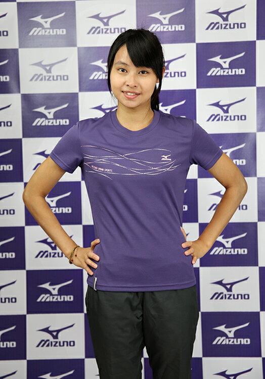 MIZUNO美津濃閃亮流線女短袖T恤(紫S號) 排汗上衣 56TL-16367