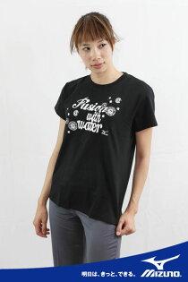 MIZUNO美津濃女用棉質T恤(黑)舒適彈性棉質