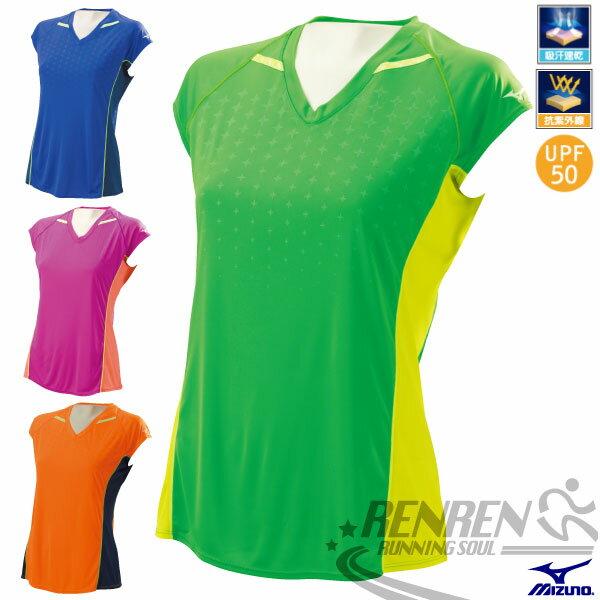 MIZUNO 美津濃 女短袖路跑T恤(綠X螢光黃) 高透氣吸汗快乾 RUNNING