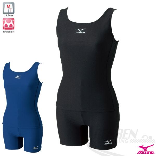 MIZUNO美津濃 女 基本款素色運動泳裝 背心式BASIC 兩件式泳衣(黑)