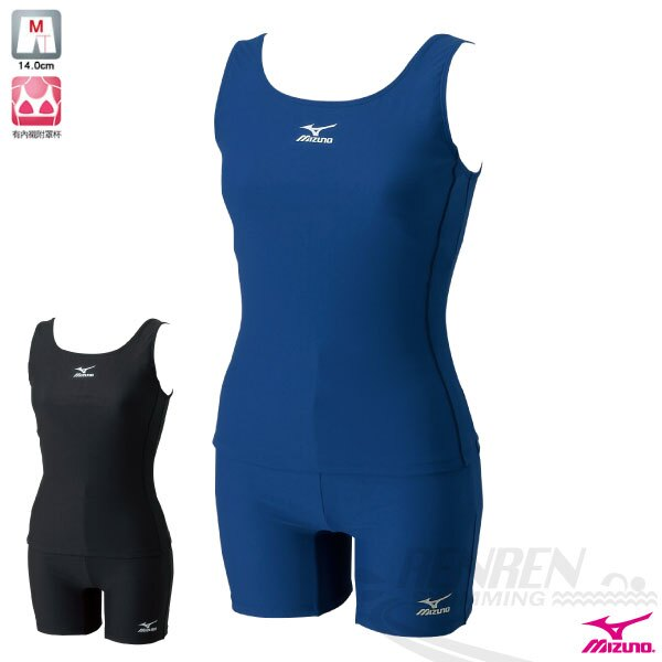 MIZUNO美津濃 女 基本款素色運動泳裝(丈青) 背心式BASIC 兩件式泳衣