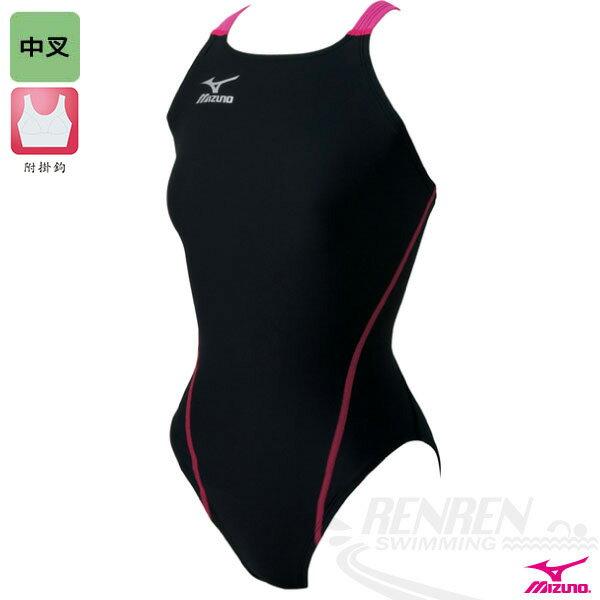 MIZUNO美津濃 EXER SUITS 女童用練習泳衣 (黑*桃紅)中叉 附掛鉤