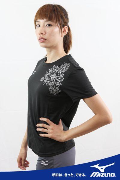 *運動甜心*MIZUNO美津濃水鑽設計女短袖T恤(黑) 吸汗快排 56TL-16409