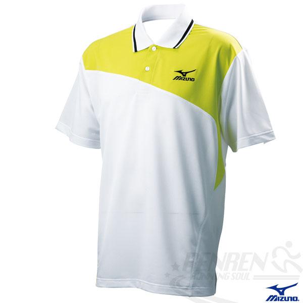 MIZUNO美津濃 男配色短袖Polo衫(白*黃) 吸濕快排 85HF-20901