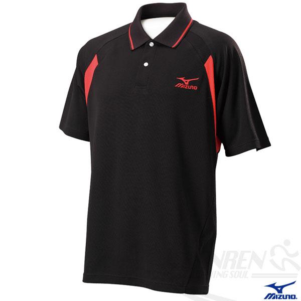 MIZUNO美津濃 男短袖Polo衫(黑*紅) 吸濕快排 85HF-35509