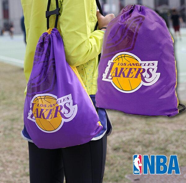 NBA 湖人隊 抽繩後背肩背兩用輕便包 紫金 防潑水後背束口袋 LAKERS