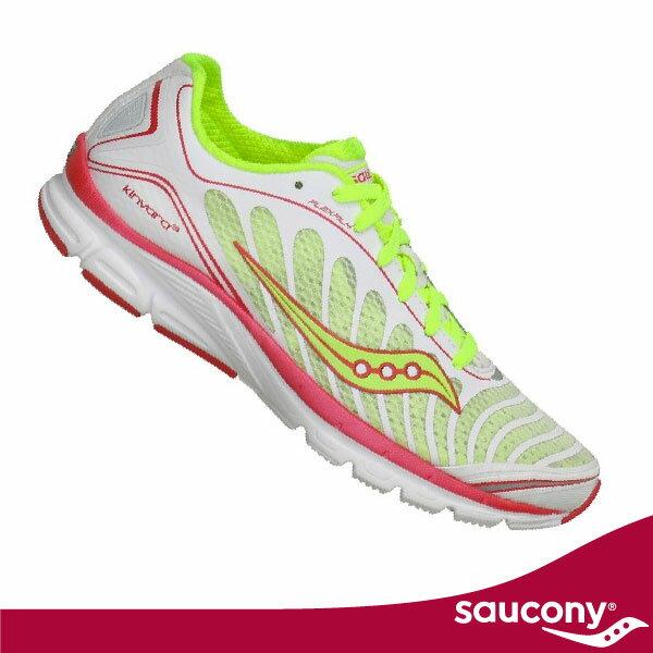 SAUCONY 自然3 ProGrid Kinvara 3 女-寬楦專業訓練慢跑鞋(黃/粉/白).輕量緩衝避震。限量特賣 SY10169-1