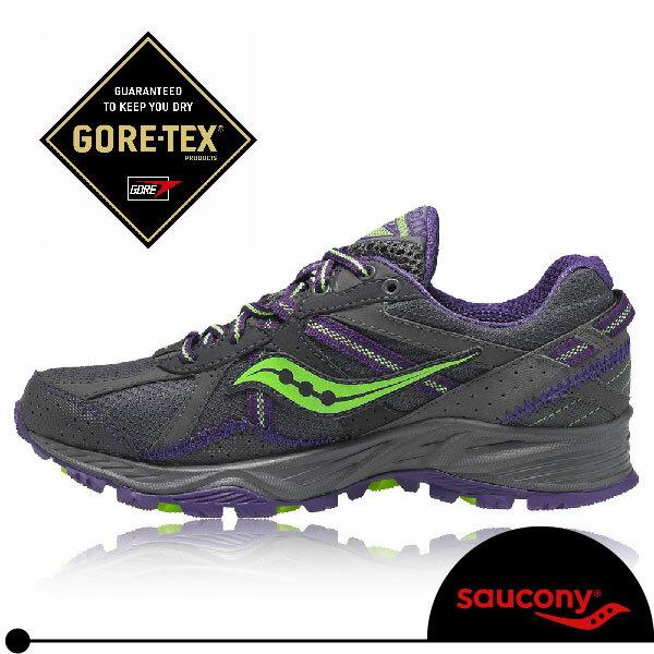 SAUCONY GRID EXCURSION TR 7 GTX 女越野慢跑鞋(灰/紫/綠).Gore-tex防水。SY15171-1
