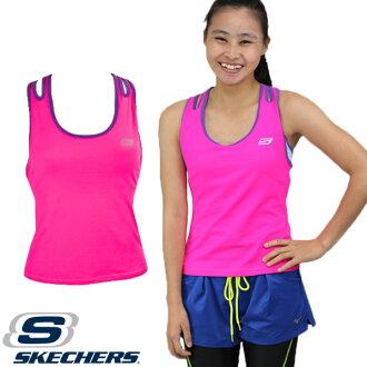 SKECHERS 女 運動背心(粉桃) 長胸衣 內附胸墊 排汗快乾 慢跑運動休閒