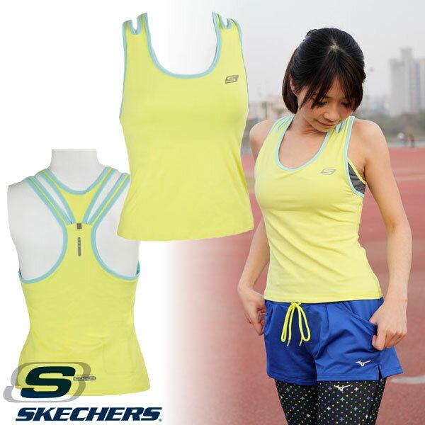 SKECHERS 女 運動背心(粉鵝黃) 長胸衣 內附胸墊 排汗快乾 慢跑運動休閒