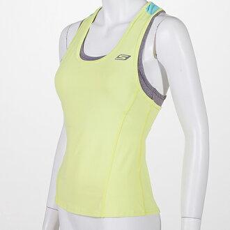 SKECHERS 女 運動背心(粉鵝黃) 長胸衣 內附高包覆性胸墊 排汗快乾 跑步瑜珈健身