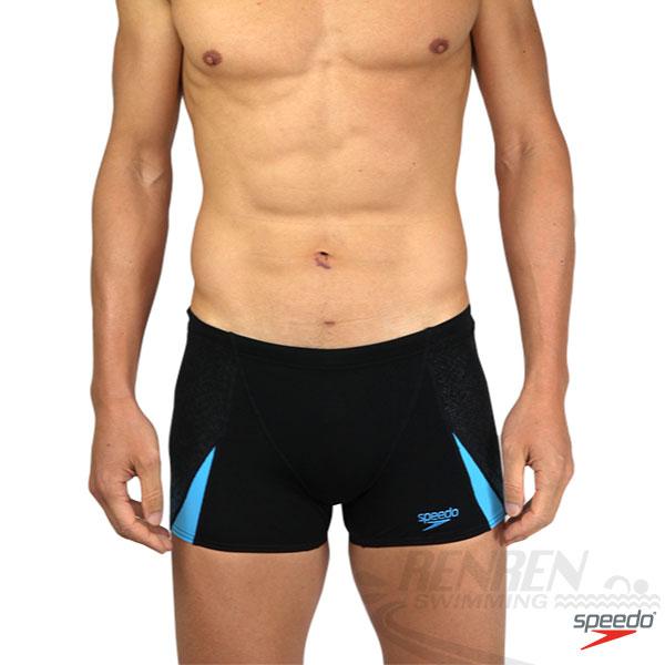 SPEEDO Rapidtum運動四角泳褲(黑-天空藍)ENDURANCE+ SD8090219001