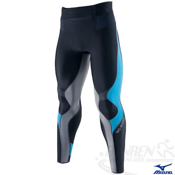MIZUNO美津濃 BIO GEAR BG8000男全長緊身褲(黑*藍) 膝蓋小腿肌肉支撐力 A60BP-27592