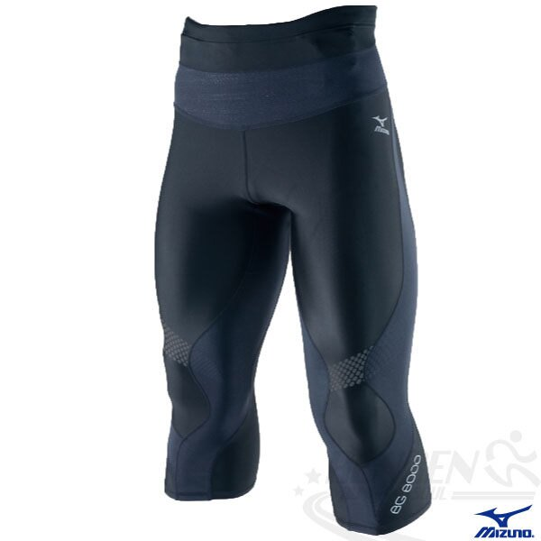 MIZUNO美津濃 BIO GEAR BG8000男膝下型七分緊身褲(黑) 膝蓋大腿肌肉支撐力 A60BP-27790