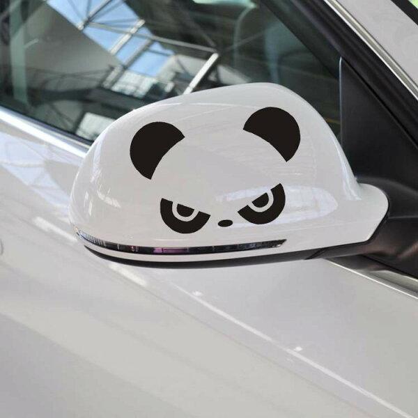 沂軒精品:A0163熊貓後視鏡貼車身貼紙機車貼燈眉貼BMWBENZFORDMAZDAVW三菱AUDI