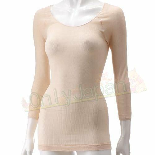 【真愛日本】日本限定 日本製Tights超薄機能衣 Inner吸濕保暖素材八分袖上衣 發熱衣 現貨 黑色 膚色 粉色 保暖 衛生衣