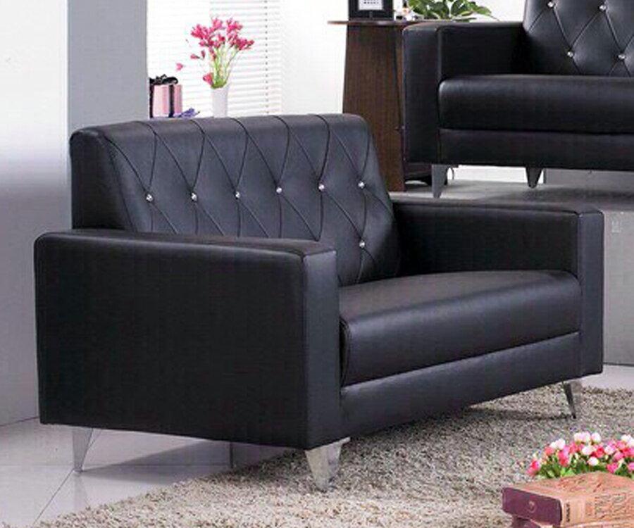 !新生活家具!《摩洛哥》黑色 水鑽 皮沙發 雙人座沙發 二人位沙發 工廠直營.臺灣製造