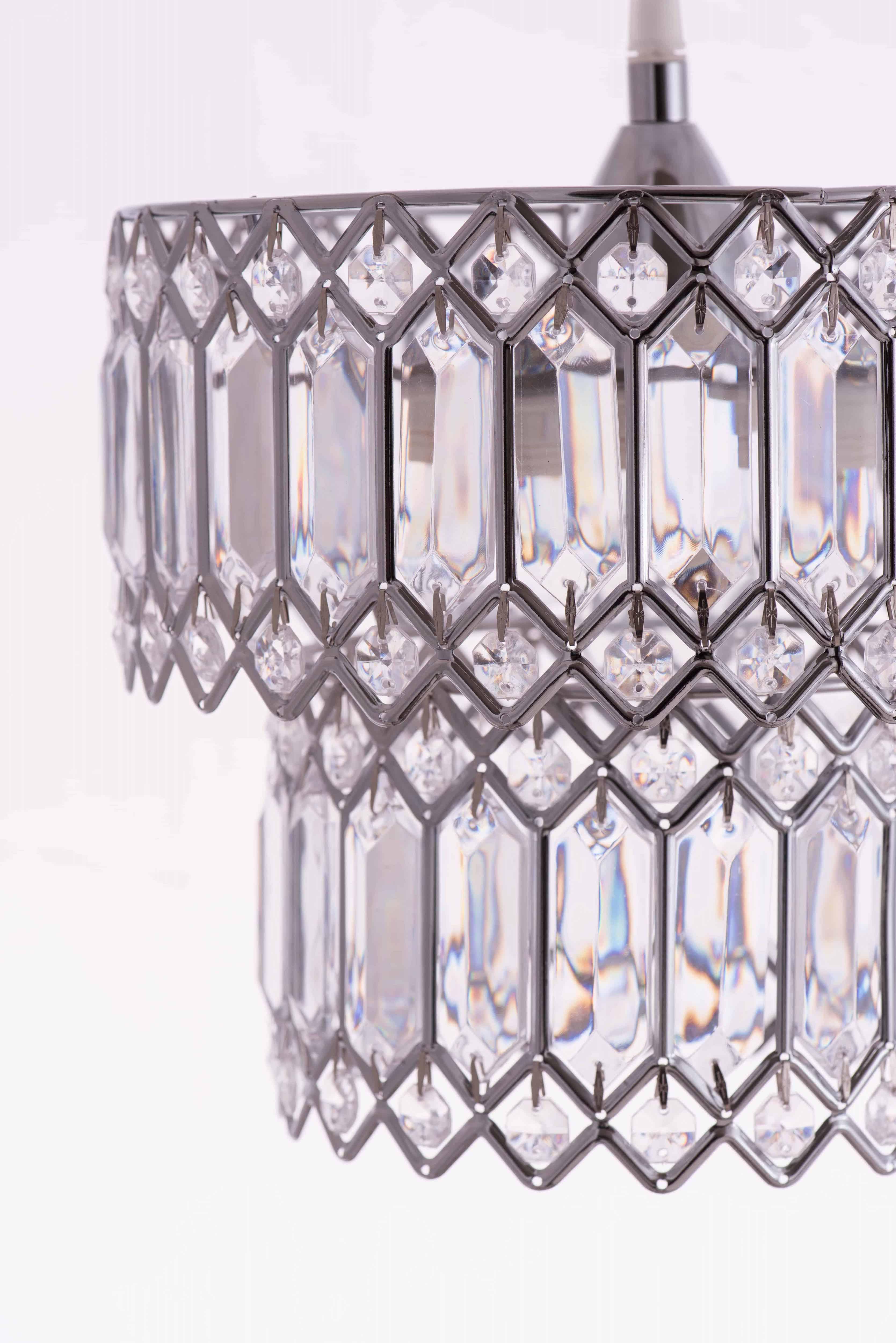 鍍鉻銀鐵花邊透明壓克立吊燈-BNL00056 2