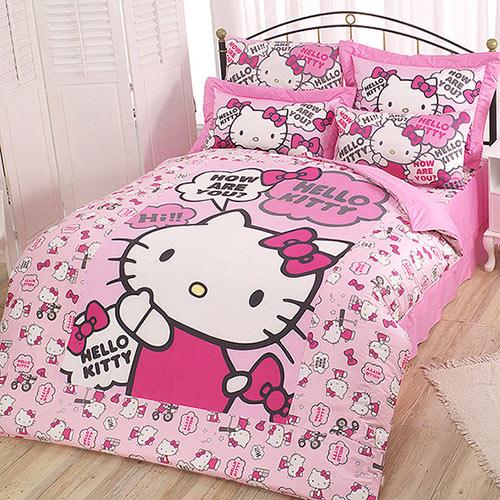 享夢城堡:HELLOKITTY嗨~你好嗎系列-精梳棉雙人床包薄被套組(粉)