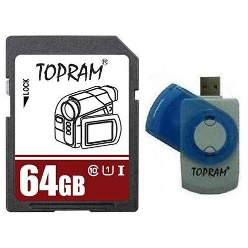 TOPRAM 64GB 64G SD SDHC SDXC Secure Digital Extended Capacity Card UHS-1 Class 10 + Reader 0