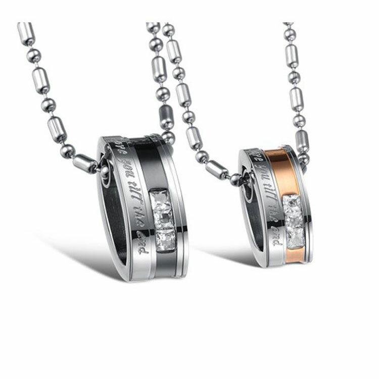 ~5折 價~ 水晶鑽鍍玫瑰金情侶鈦鋼項鏈