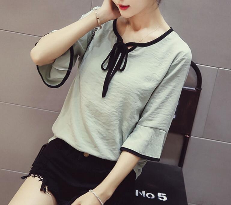 FINDSENSE MD 韓國時尚 女 休閒 圓領系帶 喇叭袖 雪紡襯衫 上衣 七分袖襯衫