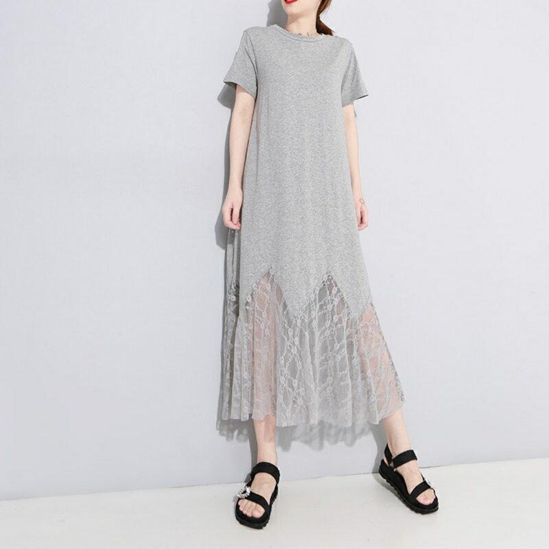 連身裙短袖洋裝-鏤空蕾絲拼接純色女裙子2色73yh26【獨家進口】【米蘭精品】