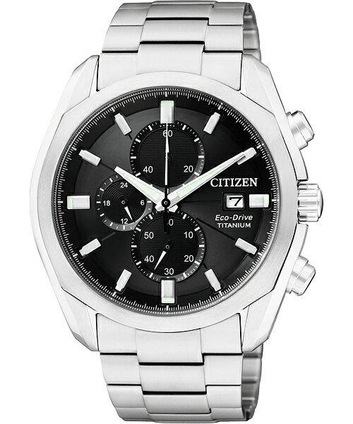 CITIZEN星辰CA0021-53E計時碼表超級鈦光動能腕錶/黑面43mm