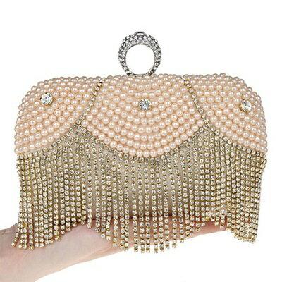 珍珠晚宴包 鏈條包 -水鑽戒指 時尚宴會女手拿包 3色71as36【獨家進口】【米蘭精品】