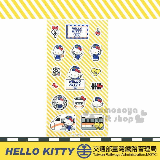 〔小禮堂〕Hello Kitty x 台鐵 造型貼紙《白.多動作.火車.站長1》新太魯閣號限定